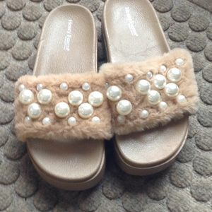 Fur and Pearl slip on sandals or slippers